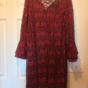Lane Bryant elegant red lacy dress, size 18